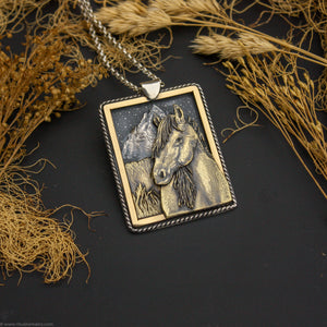 Roam- Sterling Silver and Brass Wild Mustang Pendant