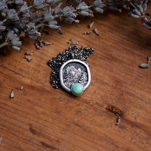 Sterling Silver Miniscape Pendant with New Lander Turquoise