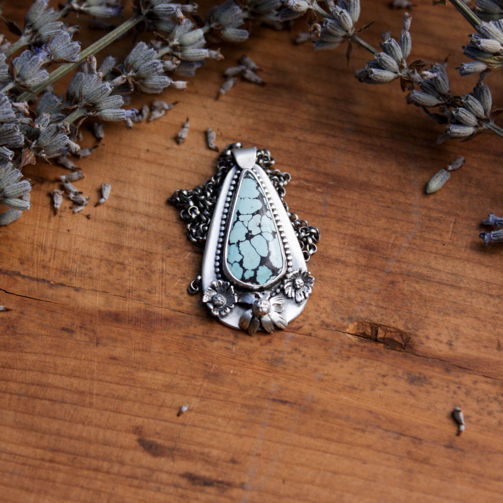 Sandhill Turquoise and Flowers Sterling Silver Pendant