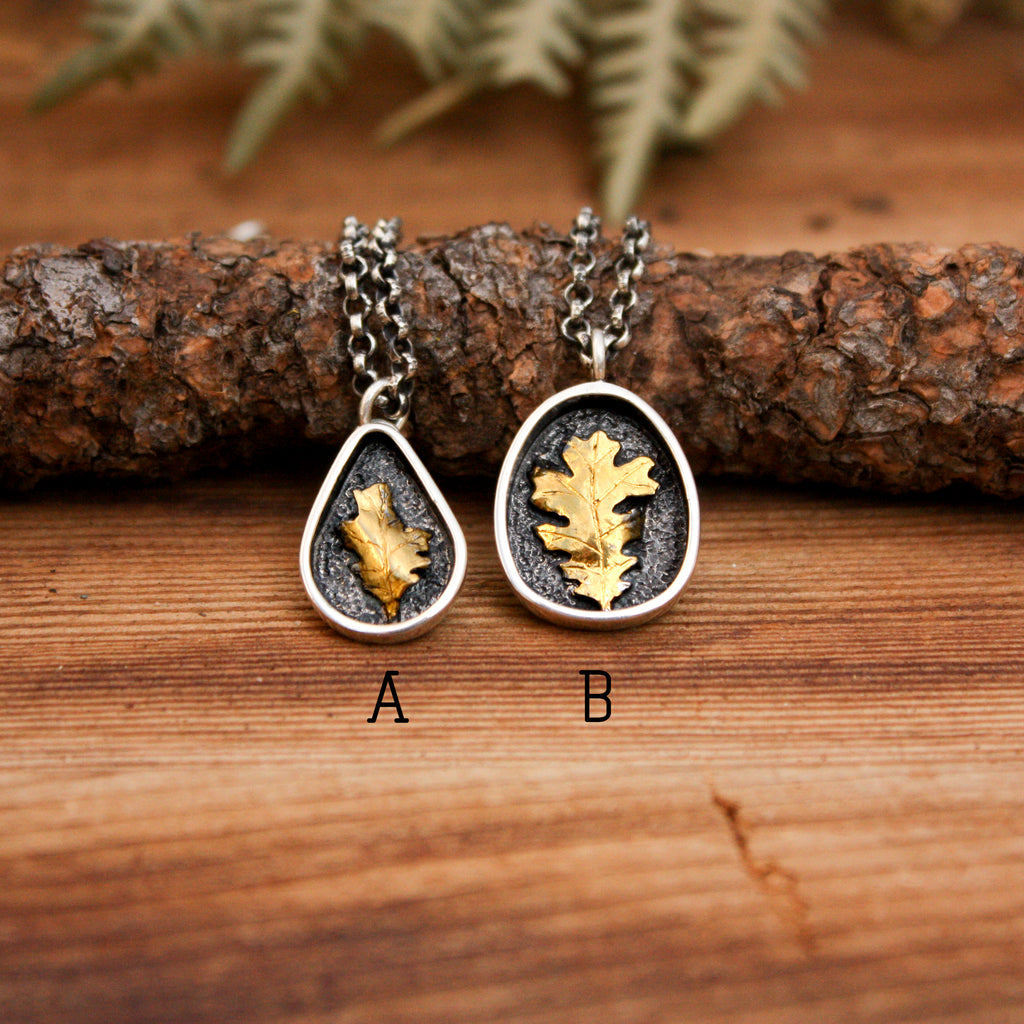 Gold Accented Oak Leaf Pendants