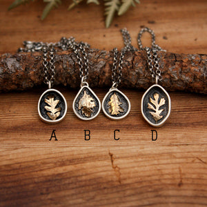 Brass Oak Leaf Pendants