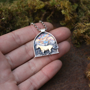Sunrise Gallop (Wee-Haw)- Sterling Silver and Gold Pendant