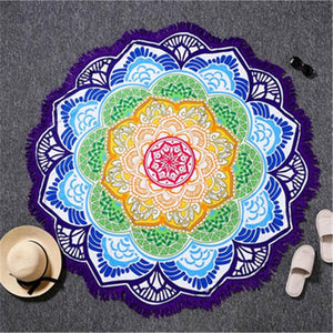 Microfibre Blue Lotus Mandala Blanket With Tassels - FashionMongerPro-Bohemian, hippie and gypsy tribe