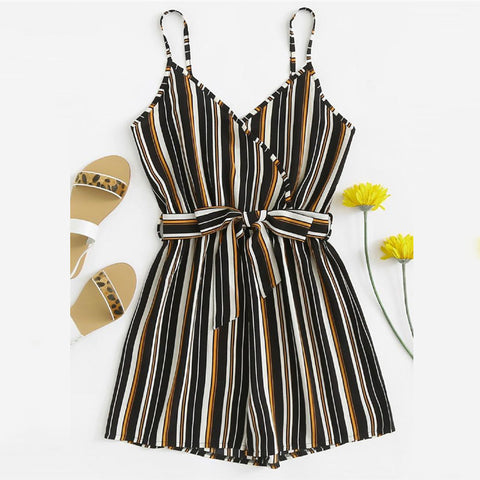 Tie Up Striped Playsuit - FashionMongerPro-Bohemian, hippie and gypsy tribe