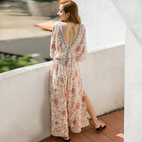Kasey Floral Jumpsuit - FashionMongerPro-Bohemian, hippie and gypsy tribe