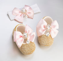 Load image into Gallery viewer, Royal Crown Babydoll Crystals Shoes and Headband