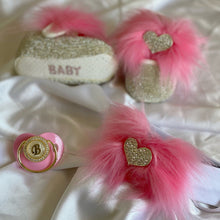 Load image into Gallery viewer, Crystal Heart Faux Fur Babydoll Shoes and Headband