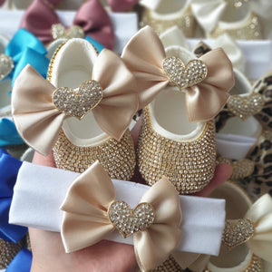 Crystal Heart Babydoll Shoes and Headband