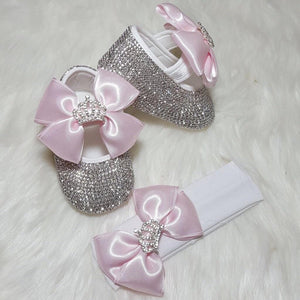 Crown Babydoll Crystals Shoes And Headband