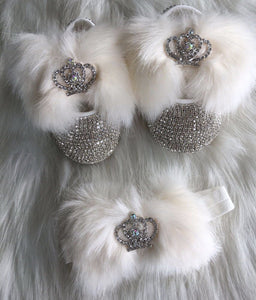 Faux Fur Babydoll Crystals Shoes And Headband