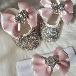 Heart Babydoll Crystals Shoes And Headband