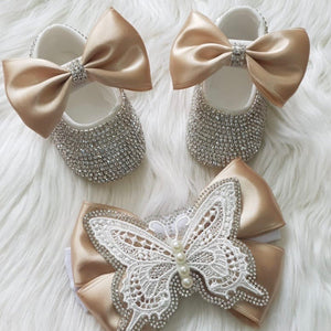 Butterfly Pearl Crystals Babydoll Shoes and Headband
