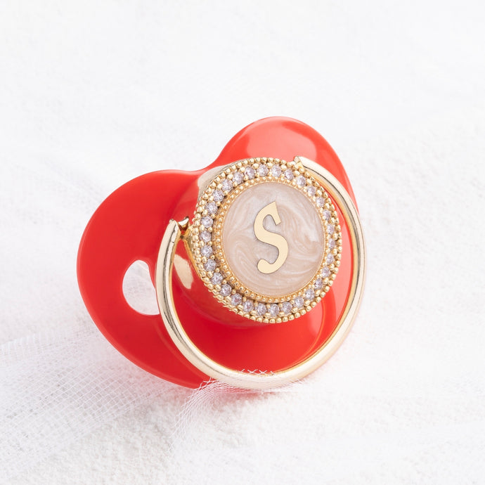 Holiday Edition Initial Pearl Crystal Pacifier in Red