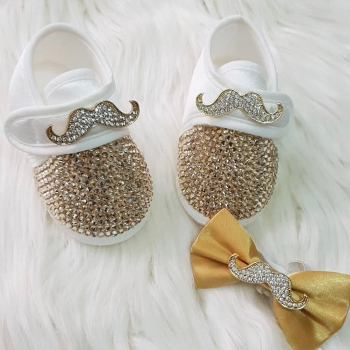 Crystals Mustache Baby Boy Shoes and Bow Tie