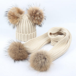Knitted Double Pom Pom Hat & Scarf