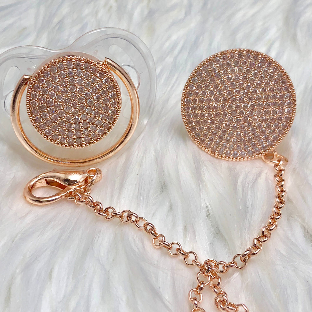 Rose Gold Bling Paci & Clip Set