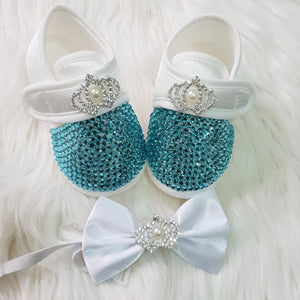 Baby Boy Crystals Shoes and Bow