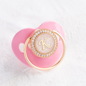 Initial Pearl Crystal Pacifier