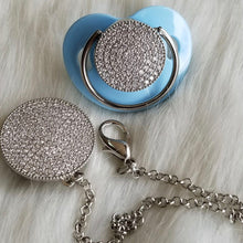 Load image into Gallery viewer, Bling Silver Paci & Clip Set