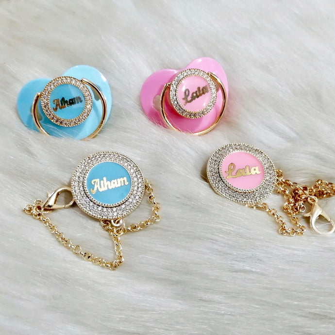 Baby Name Pacifier & Clip Set