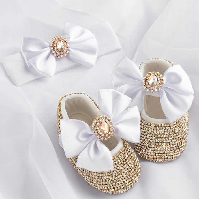 Royal Diamond Babydoll Crystal Shoes and Headband