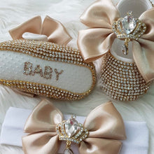 Load image into Gallery viewer, Royal Babydoll Crystals Shoes and Headband