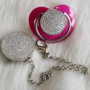 Bling Silver Paci & Clip Set