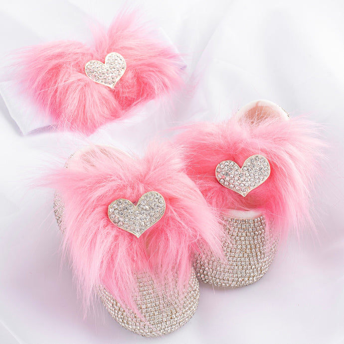 Crystal Heart Faux Fur Babydoll Shoes and Headband