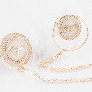 Luxury Baby Name Pacifier & Clip Set