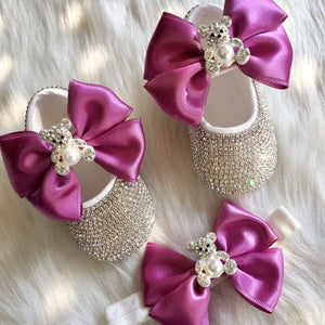 Teddy Bear Babydoll Crystals Shoes And Headband