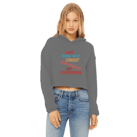Image of LIFE Ladies Cropped Raw Edge Hoodie