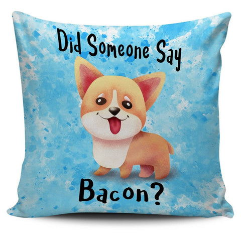 Did Someone Say Bacon Corgi Dog Pillow Set Grey, Purple, Lilac and Blue