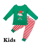Image of Christmas Pajamas Sets Striped Cartoon Print