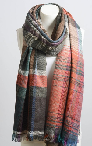 Image of Rust Mix Plaid Winter Long Fringe Scarf