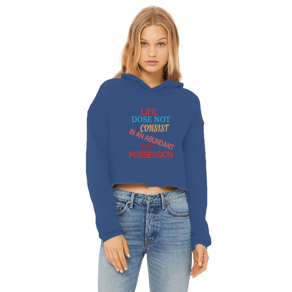 LIFE Ladies Cropped Raw Edge Hoodie