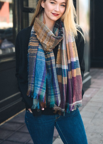 Image of Camel Mix Plaid Winter Long Fringe Scarf