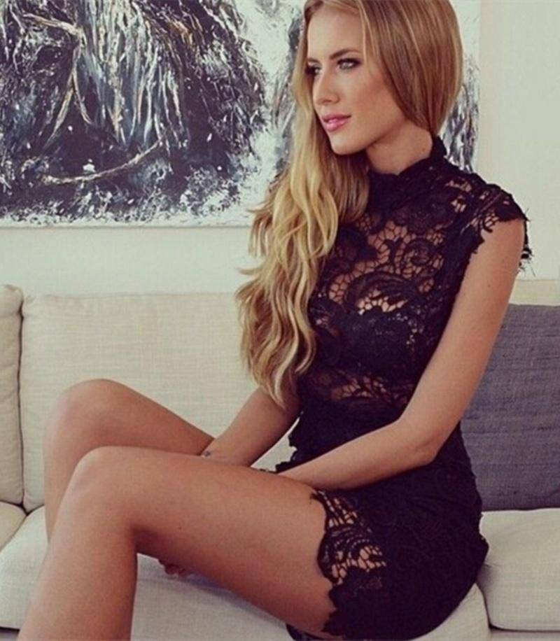 High Neck Crochet Lace Bodycon Dress