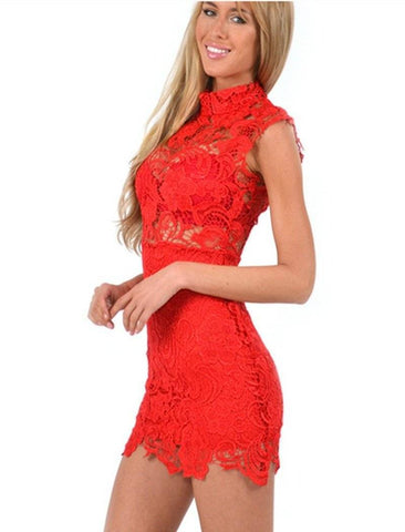 Image of High Neck Crochet Lace Bodycon Dress