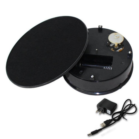 Image of Stylish black Velvet Top Electric Motorized Rotary Rotating Display Turntable Max Load