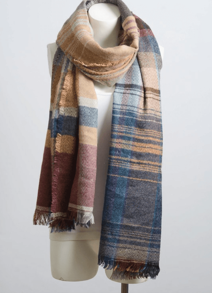 Camel Mix Plaid Winter Long Fringe Scarf