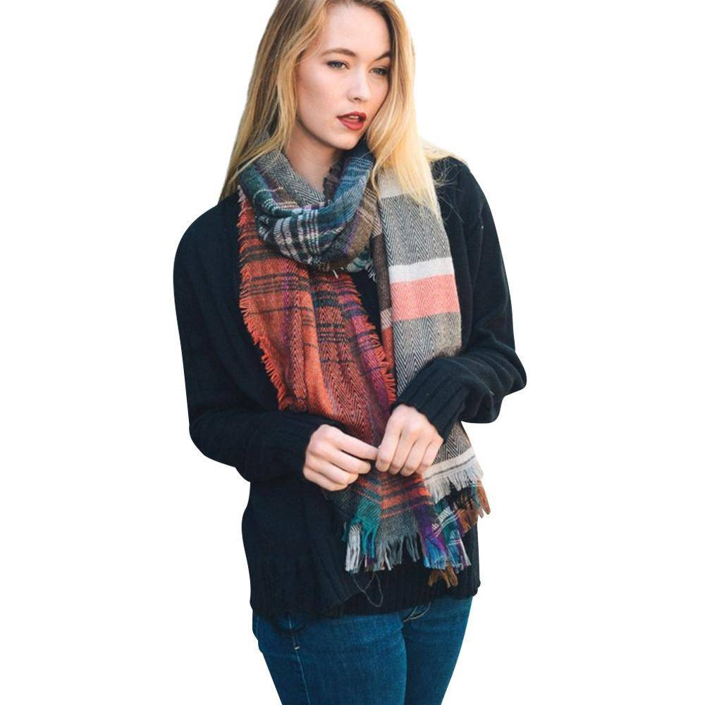 Rust Mix Plaid Winter Long Fringe Scarf