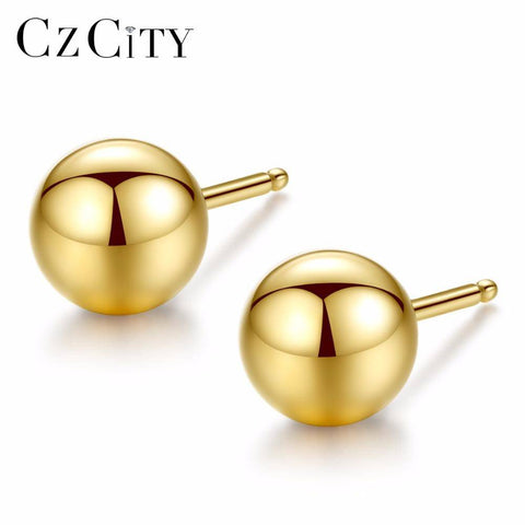 Women Authentic Pure 18k Yellow Gold, 3-5mm Round  Bead Stud Earrings
