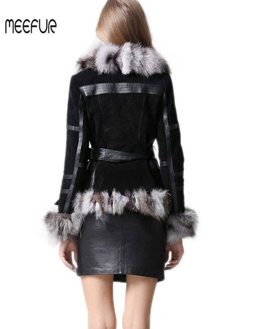 Classical Lady Genuine Leather Coat with Fox Fur