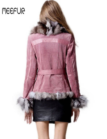 Image of Classical Lady Genuine Leather Coat with Fox Fur