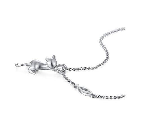 Image of Exquisite Cat Silver Jewelry Cat Necklace Silver