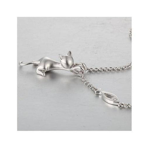 Exquisite Cat Silver Jewelry Cat Necklace Silver