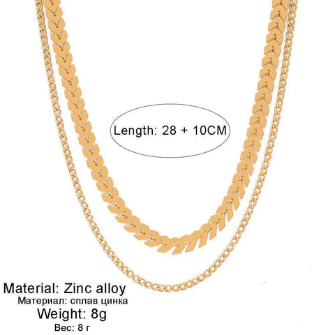 New Women Chevron  Gold Chain