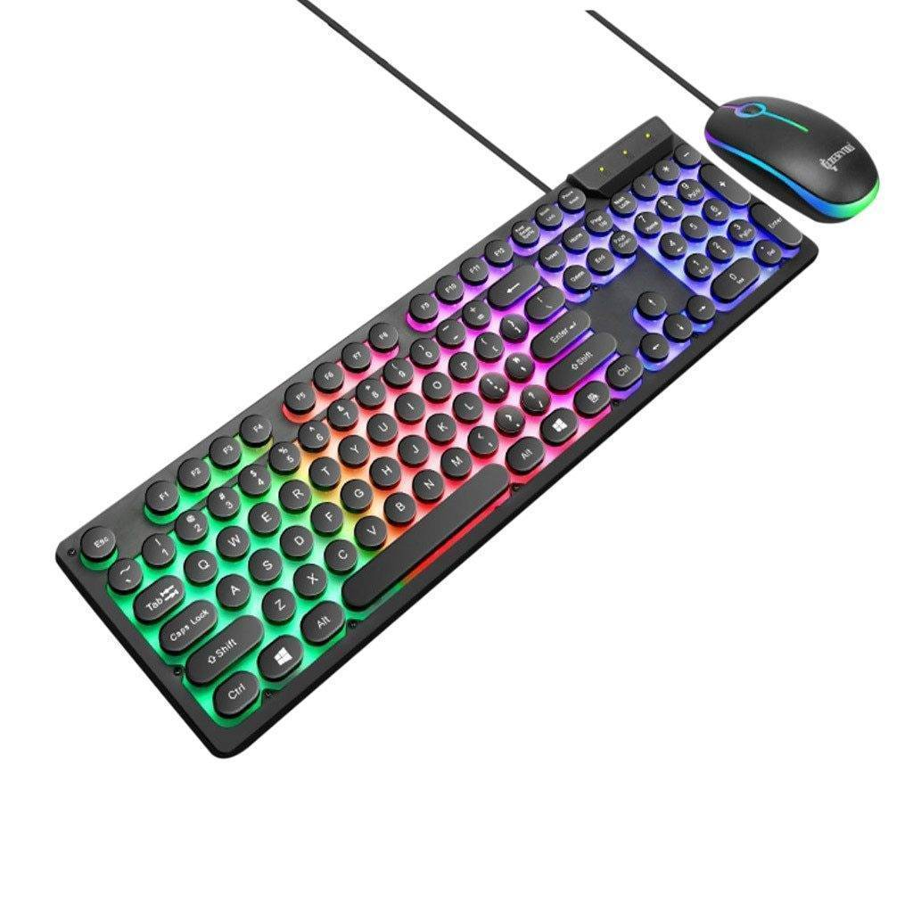 LED Rainbow Color Backlight Gaming Game USB Wired
