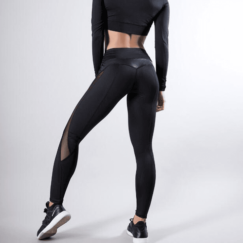Black Mesh Splice Fitness Leggings