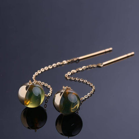 18K Rose Gold  Natural Blue Earring